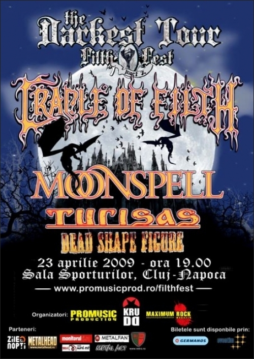 FILTH FEST TOUR cu Cradle of Filth, Moonspell si Turisas