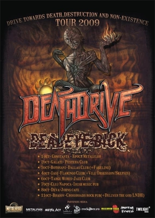 8 orase confirmate momentan in The Drive towards death, destruction and non-existence Tour
