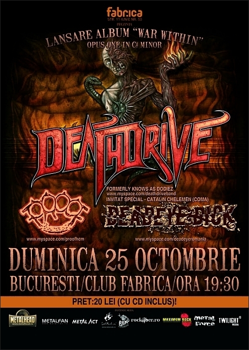 Lansare Deathdrive War Within - opus one in C# minor in club Fabrica alaturi de Proof si Deadeye Dick
