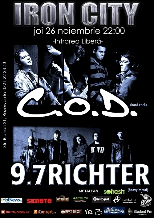 Concert C.O.D. si 9,7 Richter in club IRON CITY