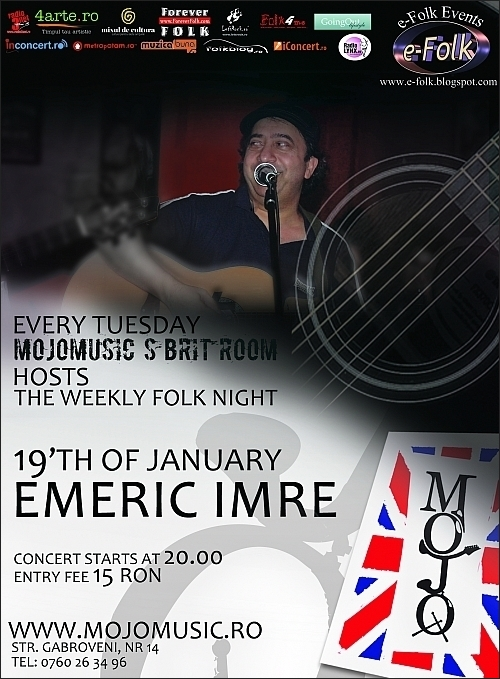 Concert folk cu Emeric Imre in Clubul MoJo BritRoom