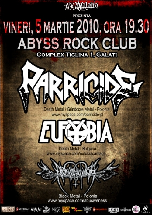 Concert PARRICIDE, EUFOBIA, Abusiveness in ABYSS ROCK CLUB