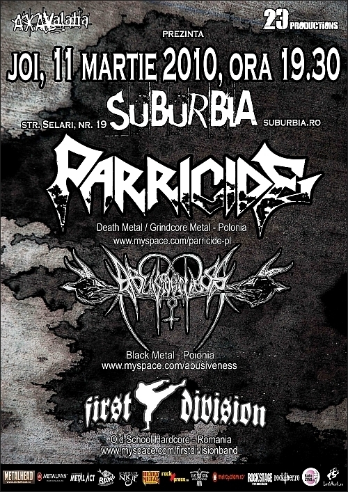 The Grindcore Balkan Tour 2010 cu Parricide, Abusiveness si First Division