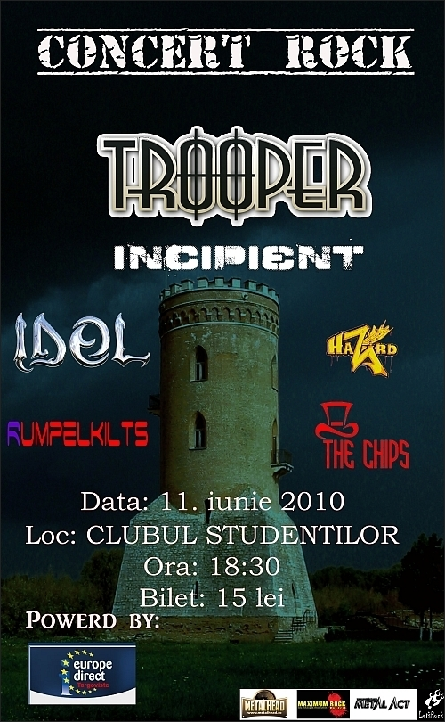 Concert Trooper, Incipient, I.D.O.L., Hazard, The Chips si Rumpelkilts in Clubul Studentilor