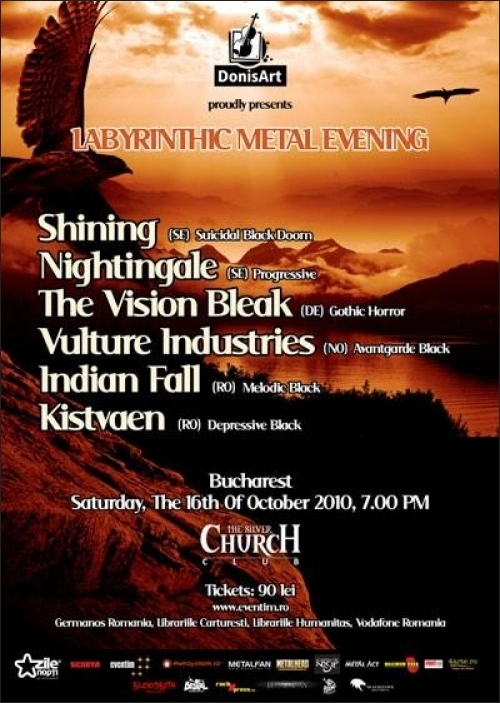 Concert Shining, Nightingale, The Vision Bleak, Vulture Industries, Indian Fall si Kistvaen in Club The Silver Church
