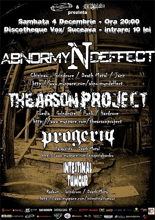 Concert Abnormyndeffect, The Arson Project, Progeria si Intestinal Tumor in Dischotheque Vox