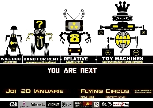 Concert Toy Machines, Relative, Band For Rent si Will Doo in club Flying Circus