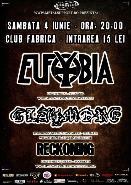 Concert Eufobia, Claymore, Reckoning in Club Fabrica din Bucuresti