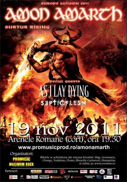 Cumpara in avans bilete la concertul Amon Amarth, As I Lay Dying si Septicflesh