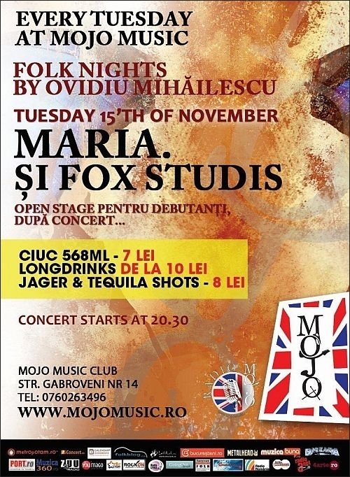 Concert Maria si Fox Studis in club Mojo-Brit Room
