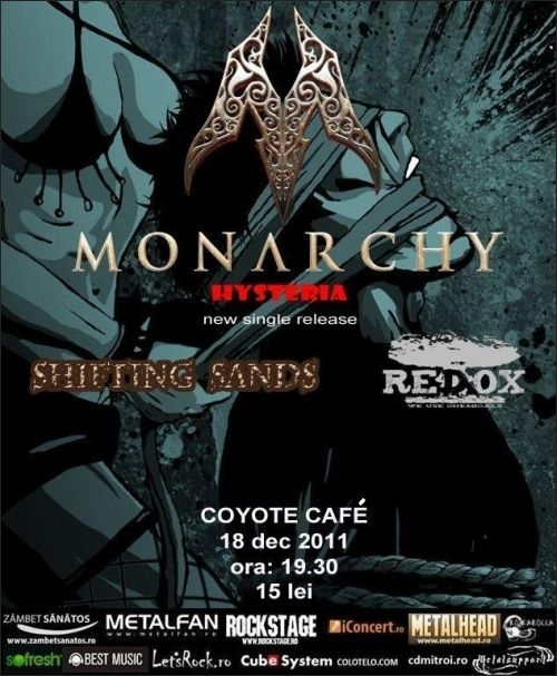 Concert Monarchy, Shifting Sands si Redox in Coyote Cafe din Bucuresti