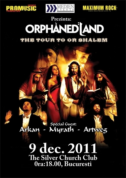 Concert Orphaned Land, Arkan, Myrath si Artweg in club The Silver Church din Bucuresti