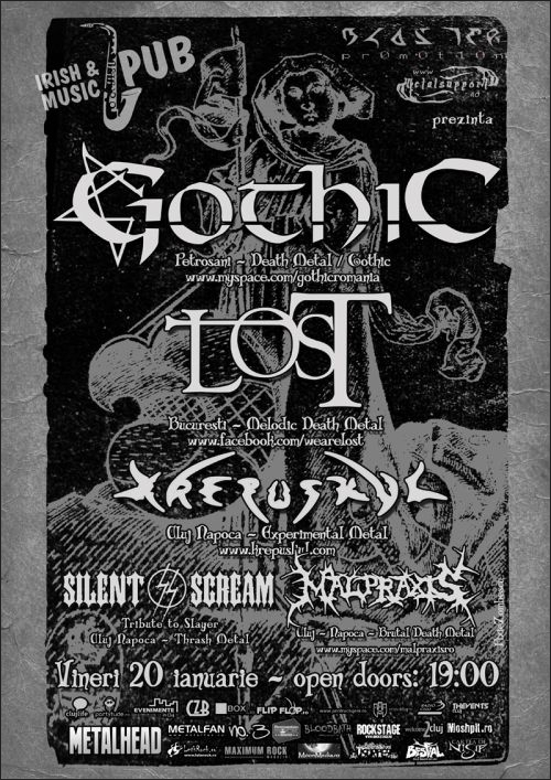 Concert Gothic, L.O.S.T., Krepuskul, Silent Scream si Malpraxis in Irish & Music Pub