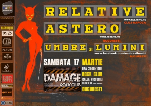 Concert Relative, Astero, Umbre si Lumini in Damage Club