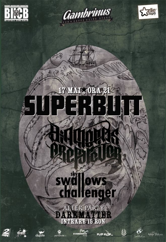 Concert Superbutt, Diamonds Are Forever si Sky Swallows Challenger in Gambrinus Pub