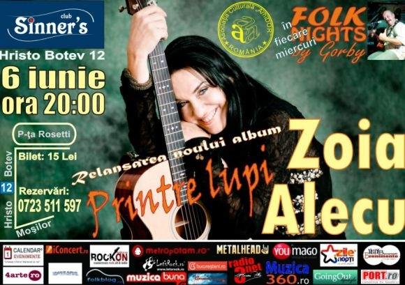 Concert Zoia Alecu - Printre lupi in Sinner's Club