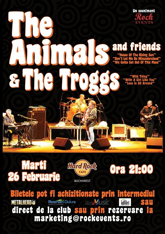 Legendarii The Animals & The Troggs impreuna pe aceeasi scena la Bucuresti
