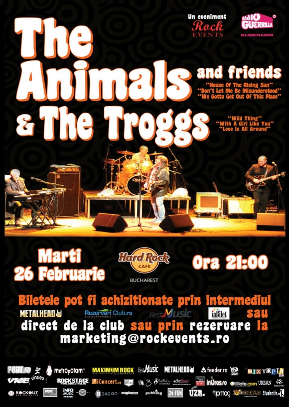 S-a pus in vanzare o noua categorie de bilete pentru concertul The Animals and Friends si The Troggs