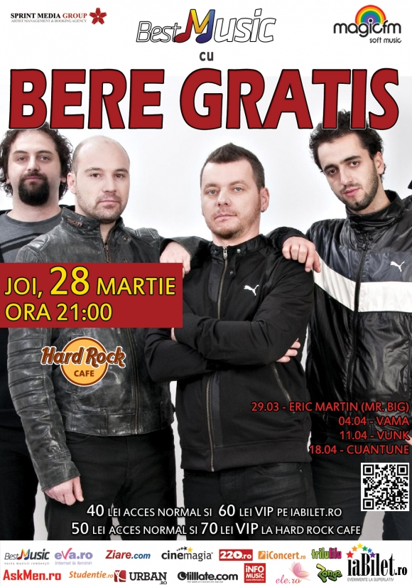 Concert Bere Gratis in Hard Rock Cafe