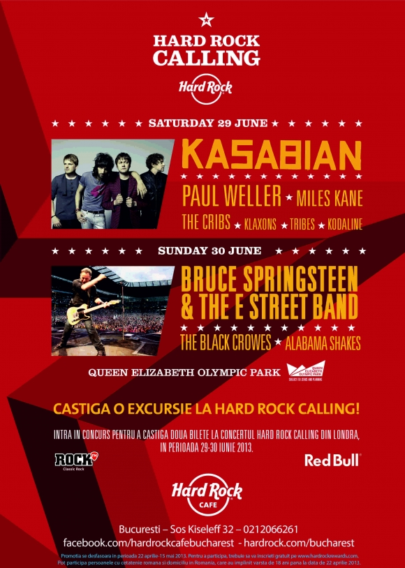 Hard Rock Cafe te trimite la festivalul Hard Rock Calling din Londra