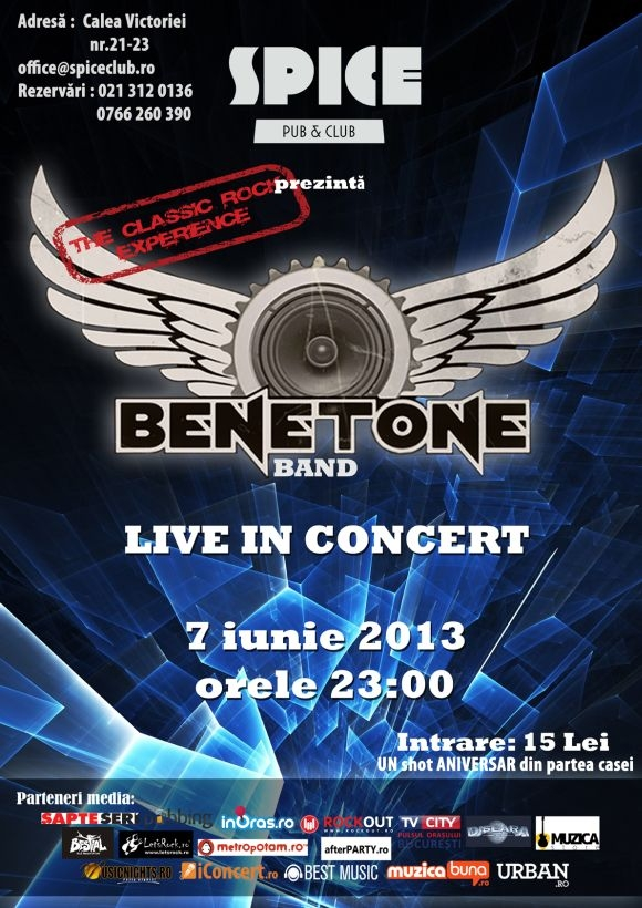 Concert BENETONE Band - The Classic Rock Experience in Spice Club