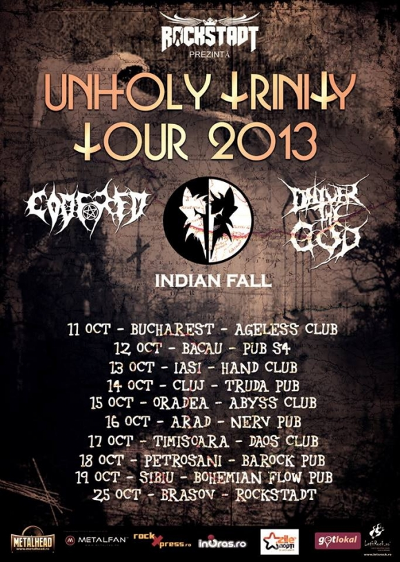 Indian Fall, Code Red si Deliver The God in turneu prin Romania