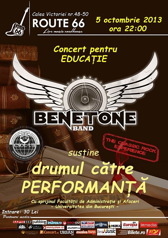 BENETONE Band in Route 66 – concert pentru performanta in educatie