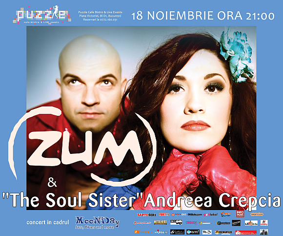 Proiectul ZUM & 'The Soul Sister'Andreea Crepcia la MooNDay – Jazz, Blues and More in Puzzle