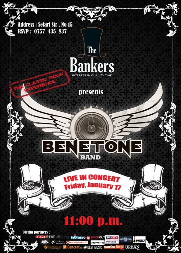 Concert Benetone Band Live in The Bankers, 17 ianuarie 2014