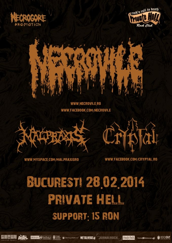 Concert Necrovile, Malpraxis si Cryptal in Private Hell Club