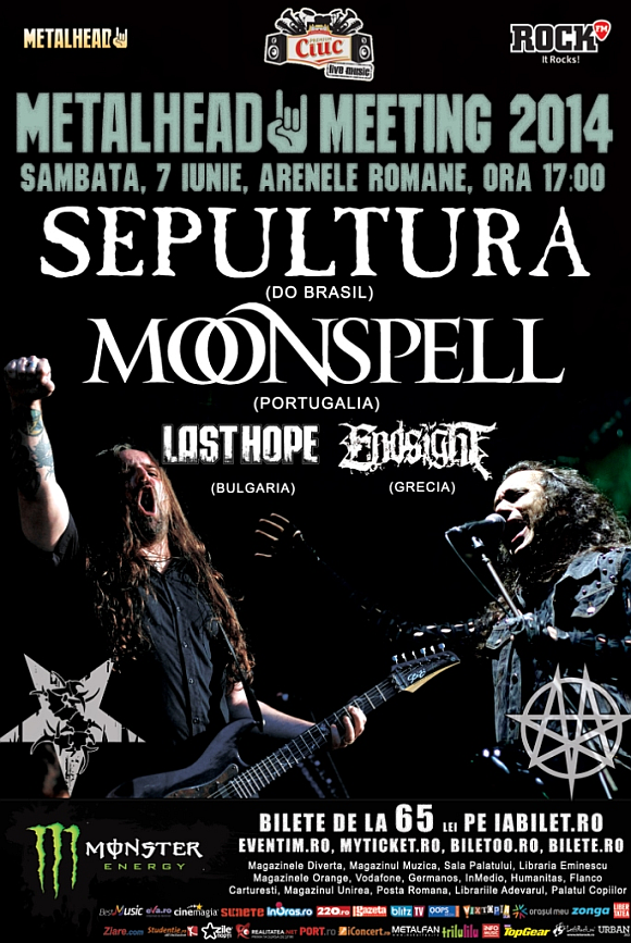 Trupele Moonspell, Sepultura, Last Hope si Endsight confirmate la Metalhead Meeting 2014
