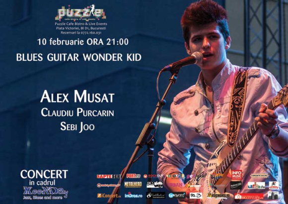 Blues Guitar wonder kid - Alex Musat & band in Club Puzzle