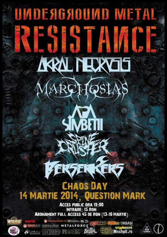 Chaos Day - line-up complet - Underground Metal Resistance Fest 3