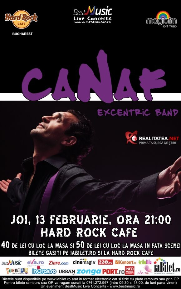 Concert Canaf Excentric Band in Hard Rock Cafe din Bucuresti