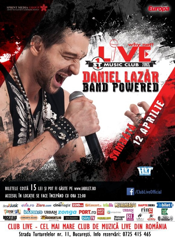 Concert Daniel Lazar Band Powered in Club Live din Bucuresti, 12 aprilie