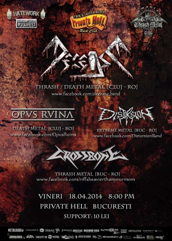 Concert Decease, Distorsion, Crossbone si Opus Ruina in Private Hell din Bucuresti