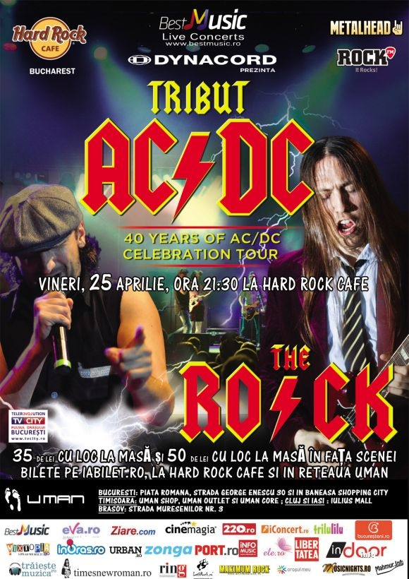 Concert The R.O.C.K. - Tribut Ac/Dc la Hard Rock Cafe