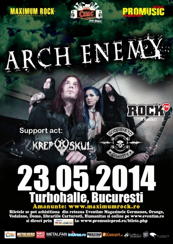 Goodbye To Gravity si Krepuskul deschid concertul Arch Enemy la Turbohalle