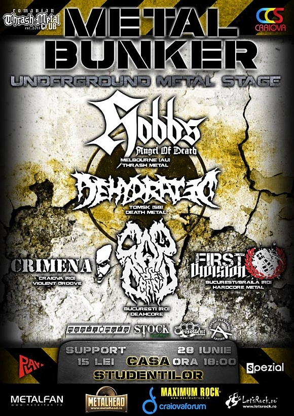 Concert Hobbs' Angel of Death, Dehydrated, Cap de Craniu si First Division la Casa Studentilor din Craiova