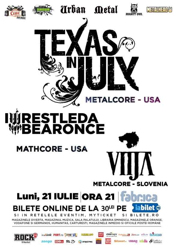 Concert Texas In July, IWrestledABearOnce si Vitja in club Fabrica