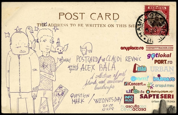 Postcard cu Claudiu Revnic si Alex Bala in Question Mark