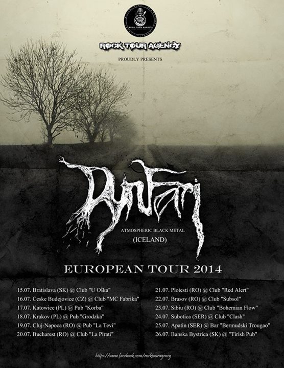 Trupa Dynfari (post black metal/Islanda) va sustine cinci concerte in Romania