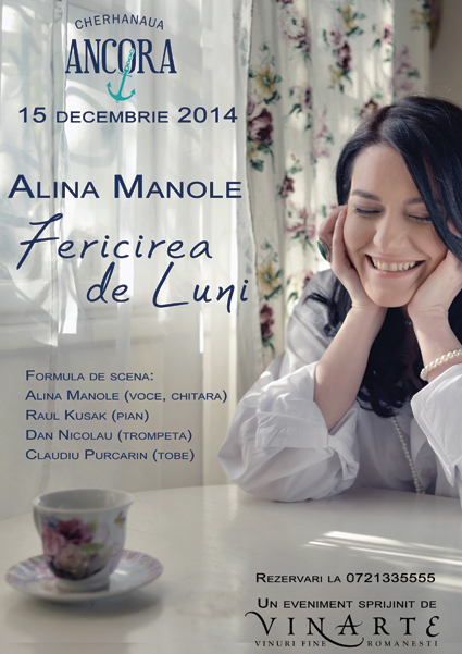 Eveniment gurmand cu concert folk-jazz Alina Manole