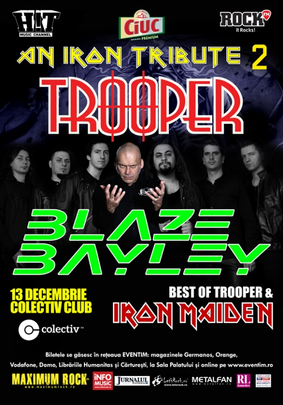 Program si reguli acces Trooper si Blaze Bayley - 13 decembrie Colectiv Club