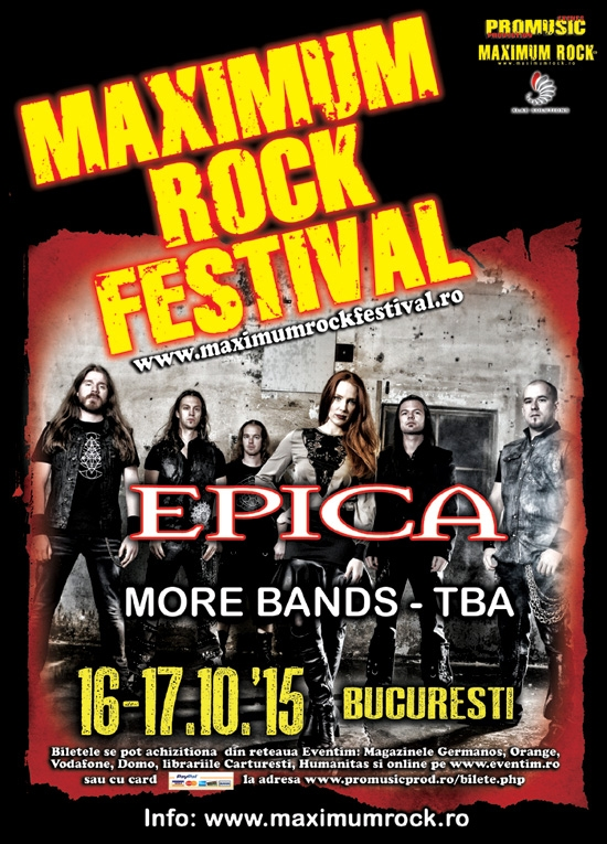 Trupa Epica confirmata la Maximum Rock Festival 2015