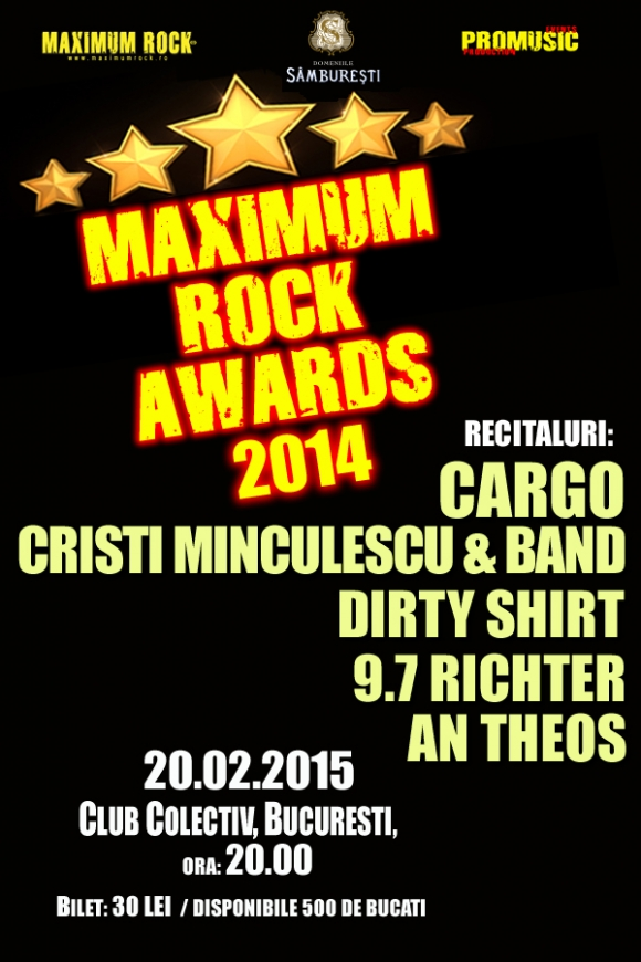 Trupele Dirty Shirt, 9.7 Richter si AnTheos va invita la Gala Maximum Rock Awards in Club Colectiv