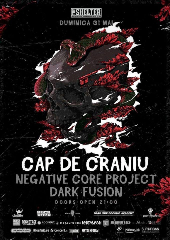 Concert Cap De Craniu, Negative Core RO si DARK FUSION in The Shelter