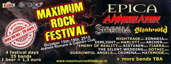 Programul evenimentului Maximum Rock Festival 2015