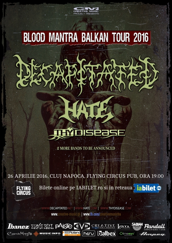 Concert Decapitated, Hate si Thy Disease in Flying Circus Pub