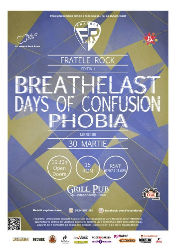 Concert caritabil Breathelast, Days of Confusion si Phobia in Grill Pub